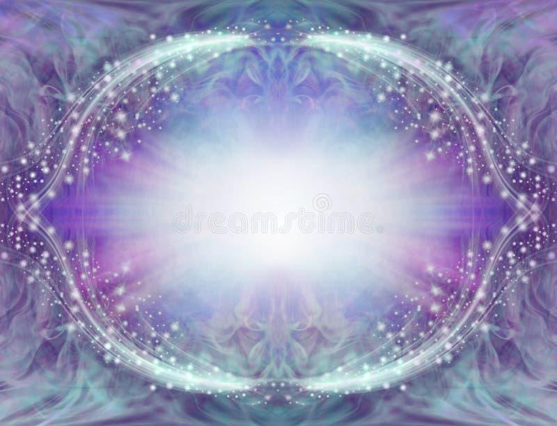 蓝色紫色闪耀的天使边界框架 向量例证