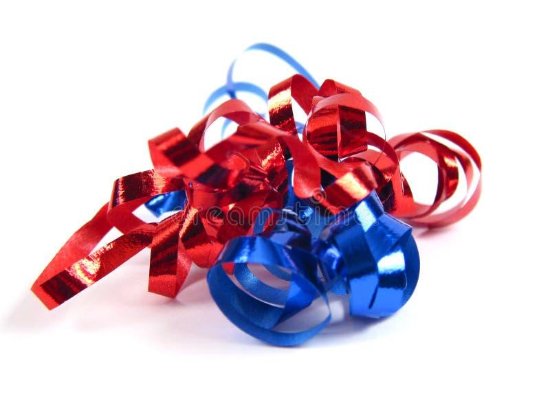 蓝色红色丝带 免版税图库摄影