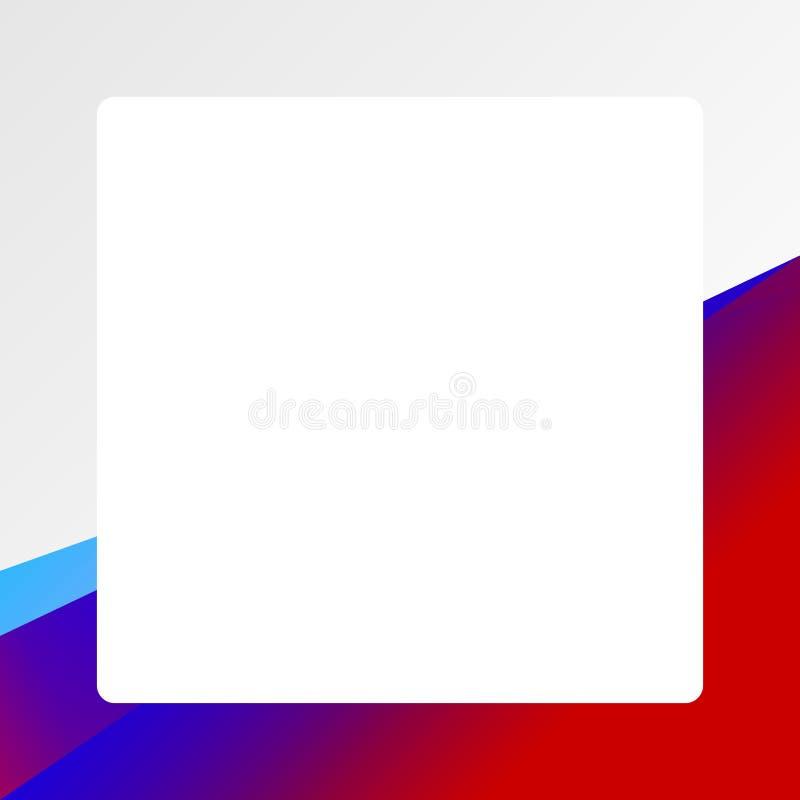 蓝色红色梯度颜色框架横幅网模板背景正方形空白和拷贝空间给的横幅促进销售做广告 皇族释放例证