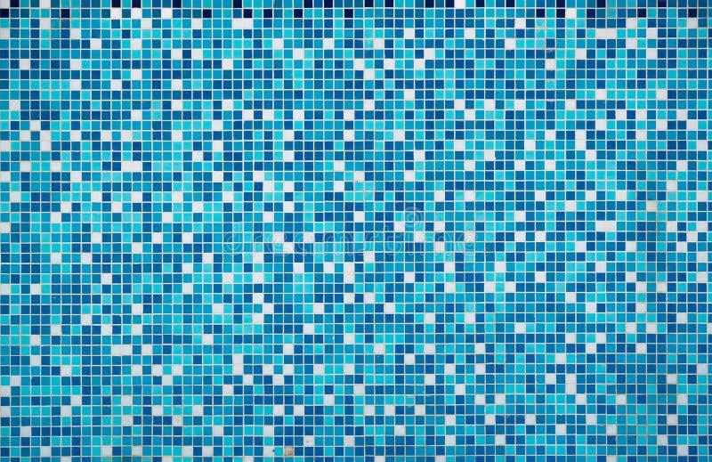 蓝色纹理水池瓦片 免版税库存照片