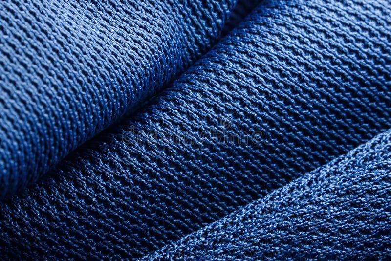 蓝色织品纹理的形式 库存图片
