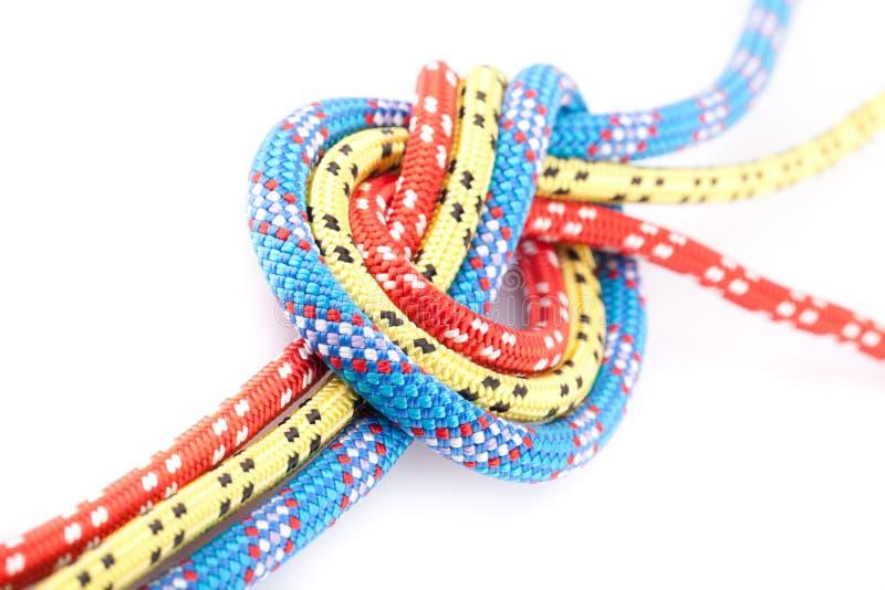 蓝色结红色绳索黄色 库存图片