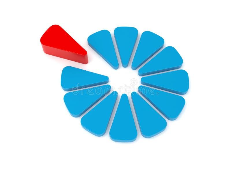 蓝色绘制红色 库存例证