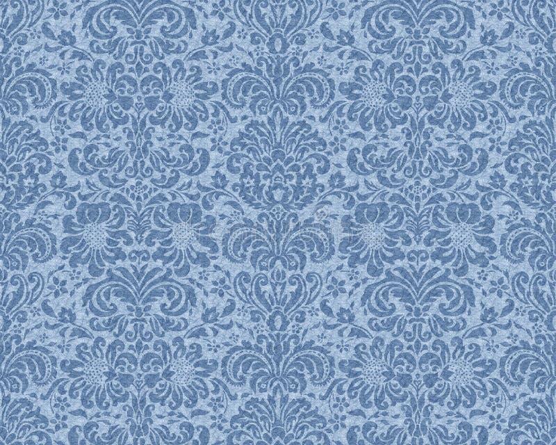 蓝色维多利亚女王时代的墙纸 向量例证