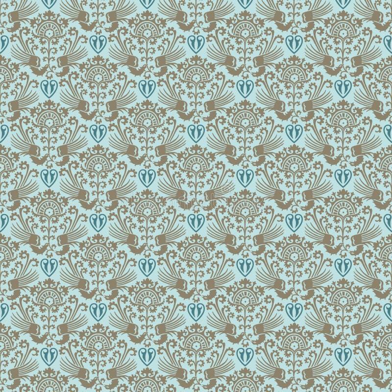蓝色维多利亚女王时代的葡萄酒锦缎无缝的墙纸 库存例证