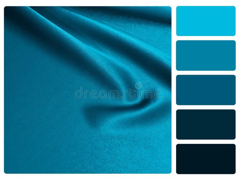 蓝色缎色板显示样片 库存照片