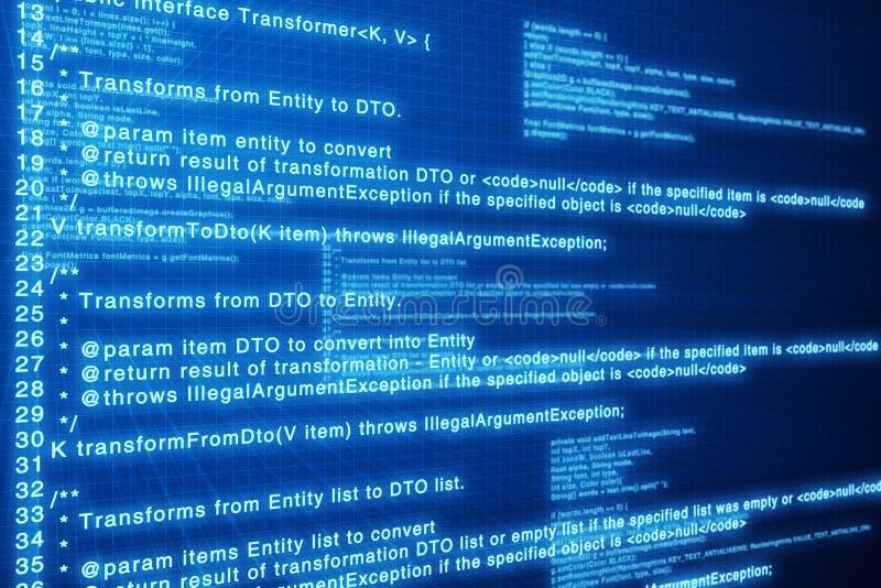 蓝色编码计算机深屏幕 库存图片