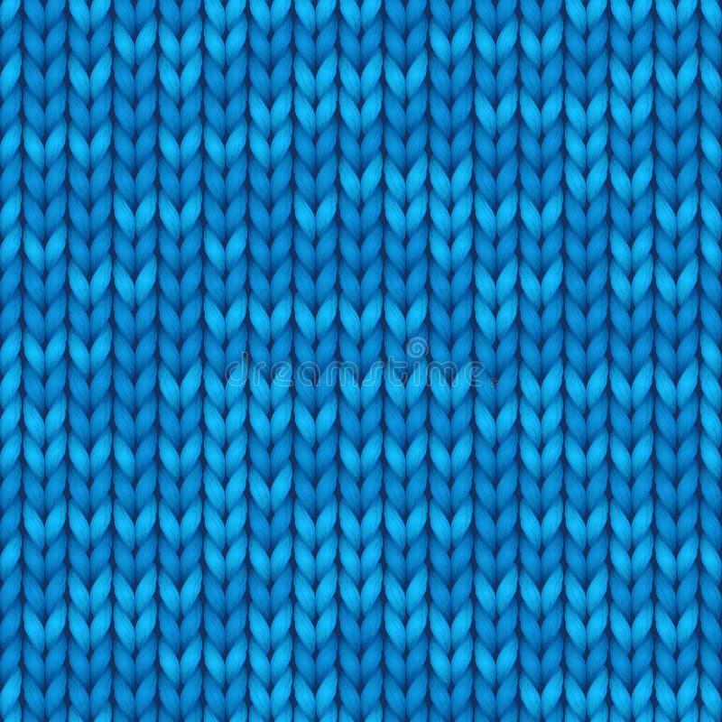 蓝色编织无缝的纹理 背景的传染媒介无缝的样式,墙纸 皇族释放例证