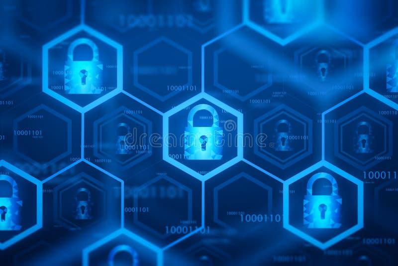 蓝色网上安全接口背景 向量例证