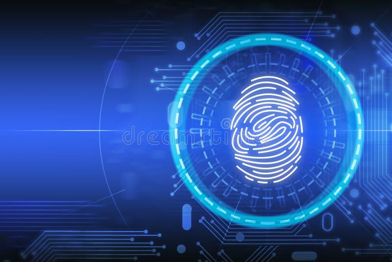 蓝色网上证明指纹接口 向量例证