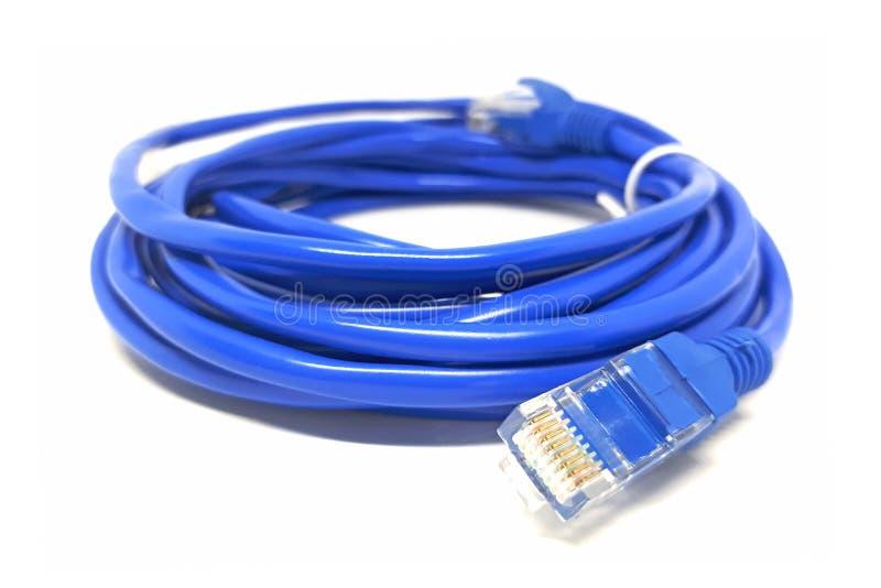 蓝色网络缆绳特写镜头在白色的 免版税库存图片
