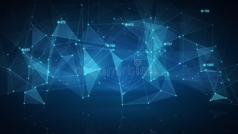 蓝色网络形状 抽象背景 库存例证