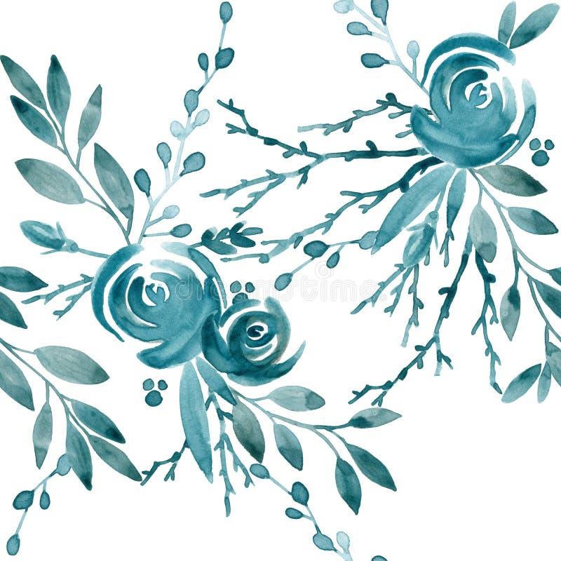 蓝色罗斯无缝的样式 蓝色花和叶子水彩例证 库存例证