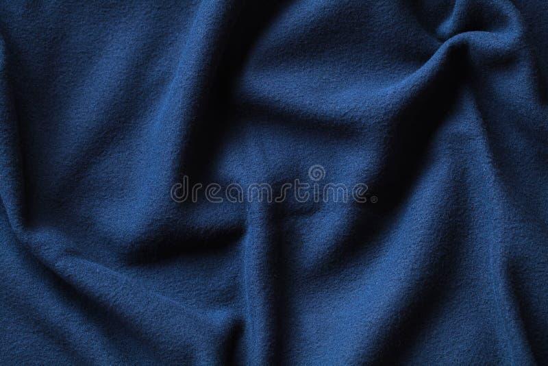 蓝色羊毛织品波浪纹理  免版税库存照片