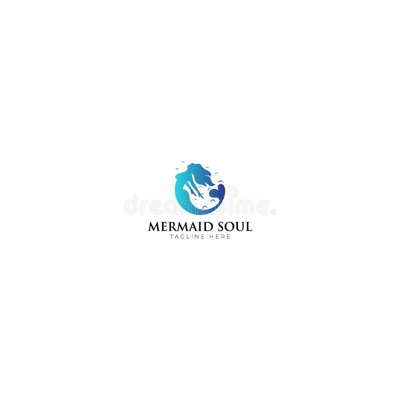 蓝色美人鱼灵魂商标设计 库存例证