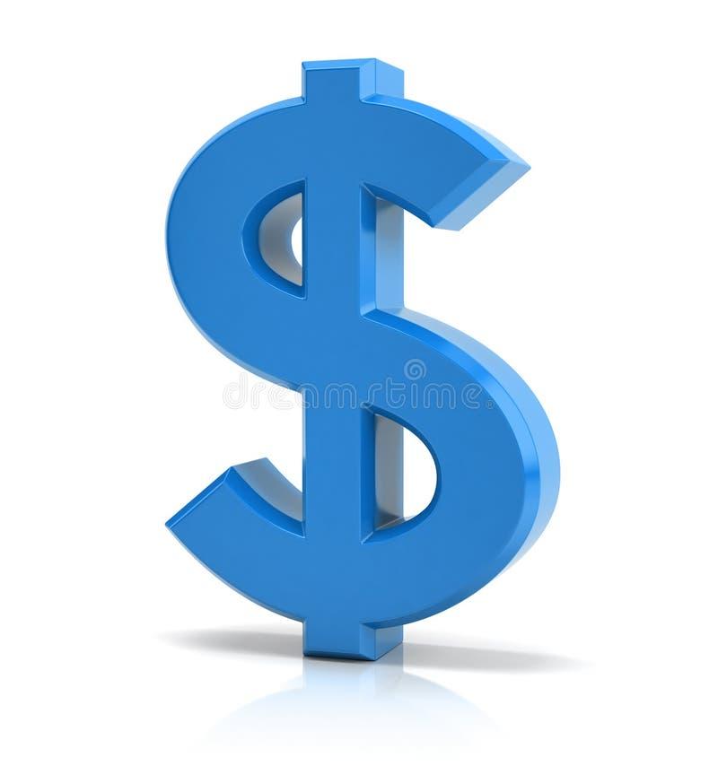 蓝色美元的符号 向量例证