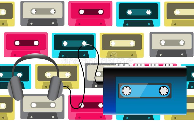 蓝色老减速火箭的录音带的葡萄酒行家现实容量便携式的音乐磁带音频球员从80 ` s, 90 ` s 库存例证