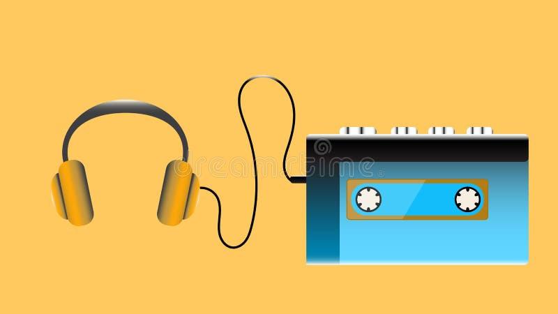蓝色老减速火箭的演奏的卡型盒式录音机葡萄酒行家现实容量便携式的音乐磁带音频球员从80 ` 向量例证