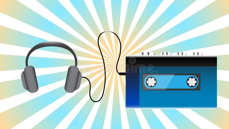 蓝色老减速火箭的演奏的卡型盒式录音机葡萄酒行家现实容量便携式的音乐磁带音频球员从80 ` 库存例证