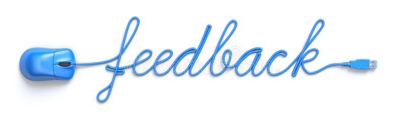 蓝色老鼠和缆绳以反馈词的形式 向量例证