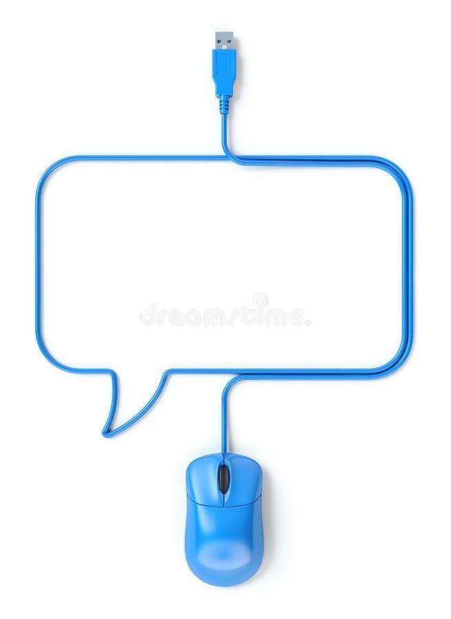 蓝色老鼠和缆绳以讲话泡影的形式 库存例证