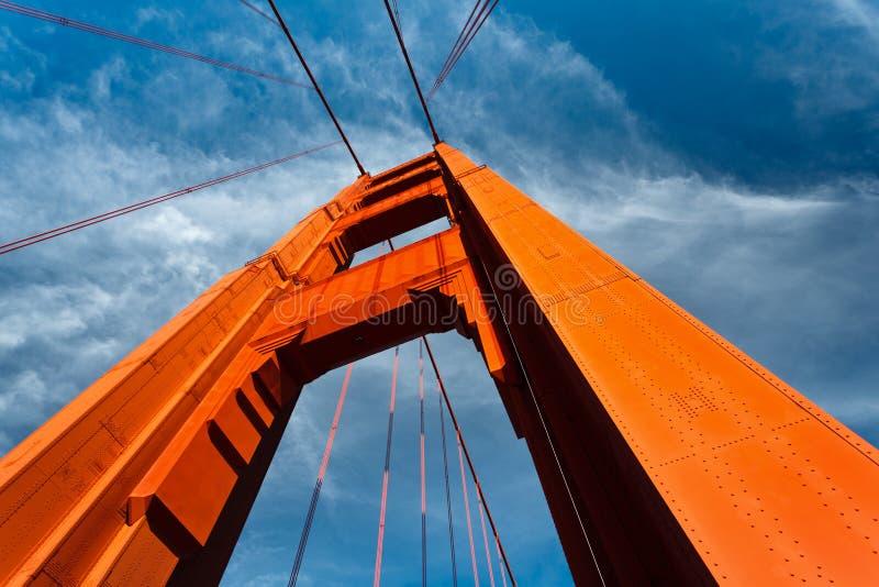 蓝色耸立的桥梁门金黄上升天空 库存图片