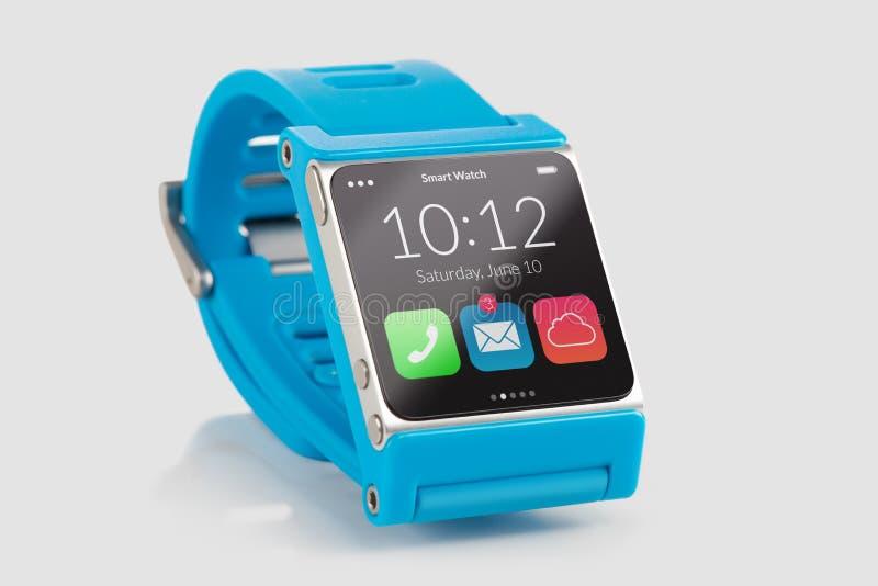 蓝色聪明的手表关闭 库存照片