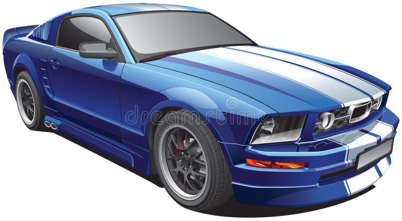蓝色肌肉汽车 向量例证