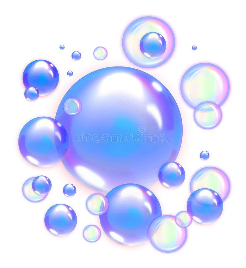 蓝色肥皂泡 库存例证