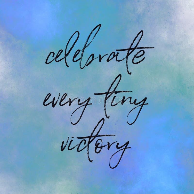 蓝色背景上的特写文本 — 引用 — 庆祝每一次小小的胜利 库存图片