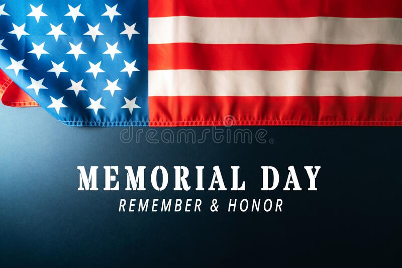蓝色背景中美国国旗的纪念日 免版税库存图片