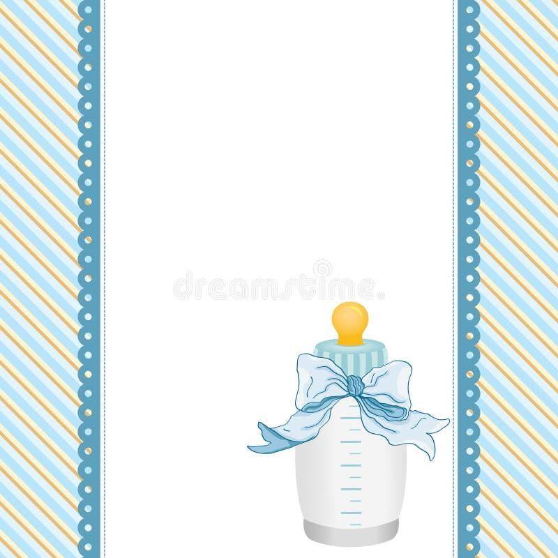 蓝色背景用乳瓶牛奶和丝带 皇族释放例证