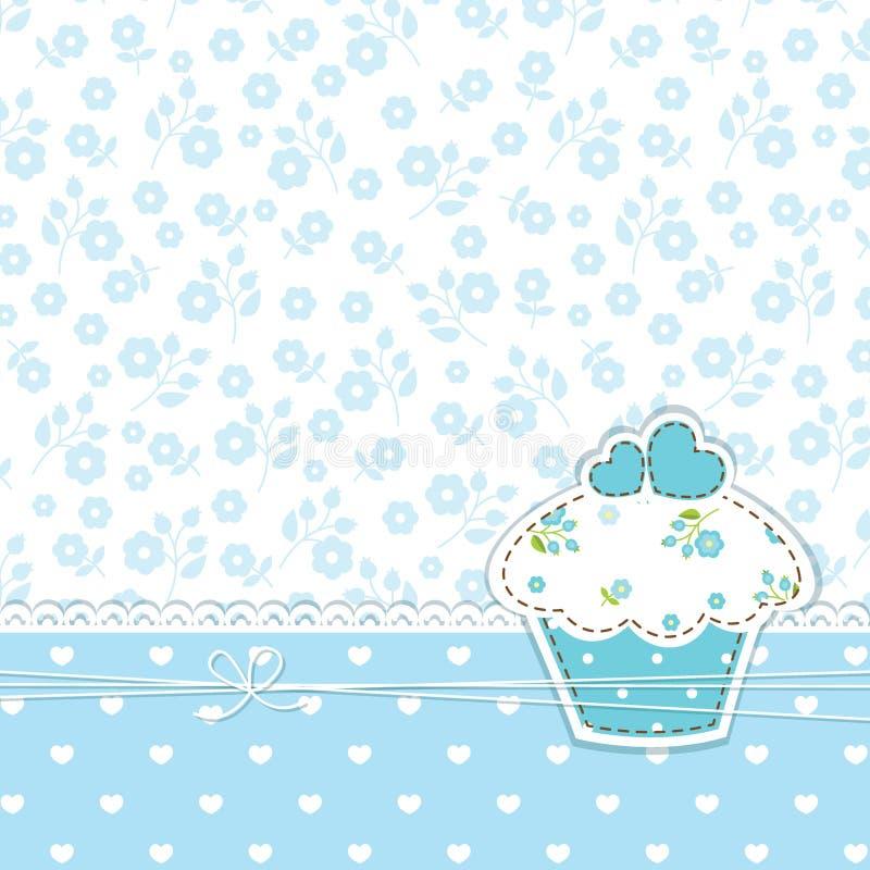 蓝色背景用杯形蛋糕 皇族释放例证