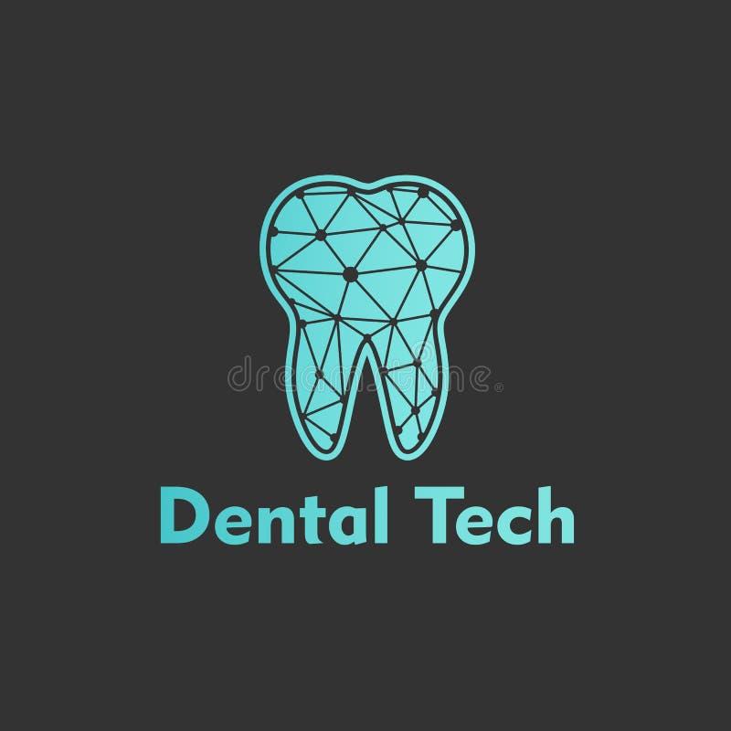 蓝色背景的商标牙齿技术 向量 皇族释放例证