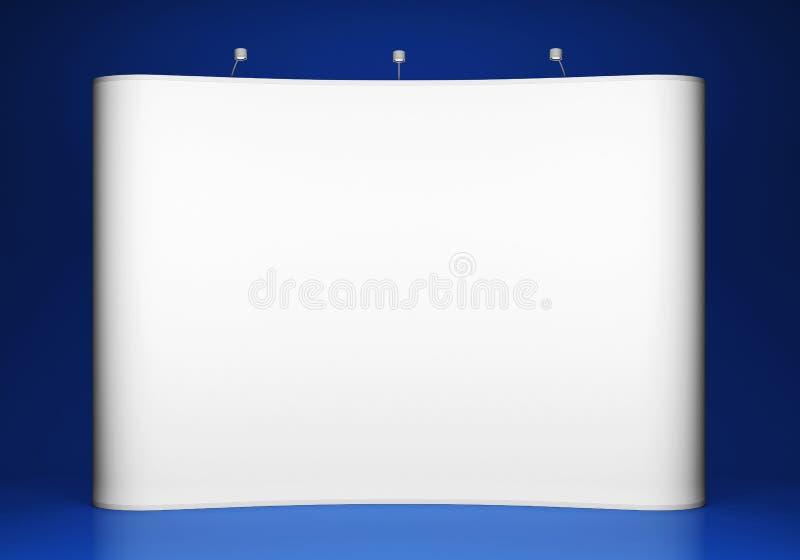 蓝色背景的空白的商业展览摊 库存例证