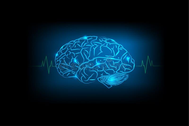 蓝色背景的脑子概念 皇族释放例证