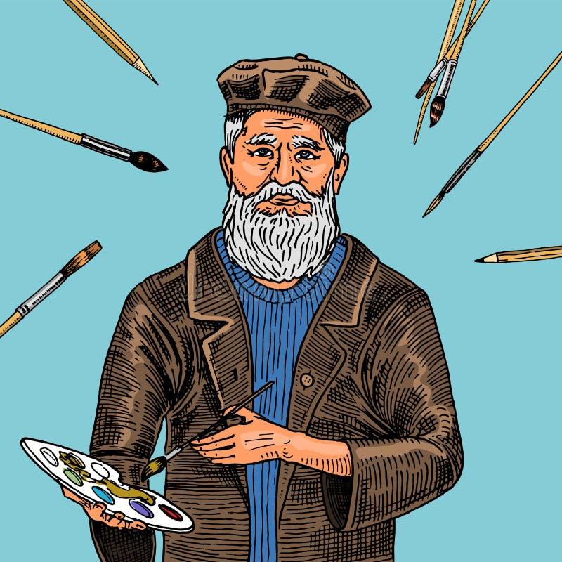 蓝色背景的艺术家人与绘的刷子 工艺创造性的人民 海报或横幅网站的 向量例证