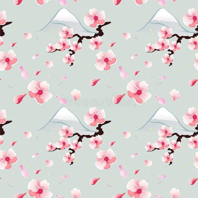 蓝色背景的,无缝的样式开花的佐仓 免版税库存图片