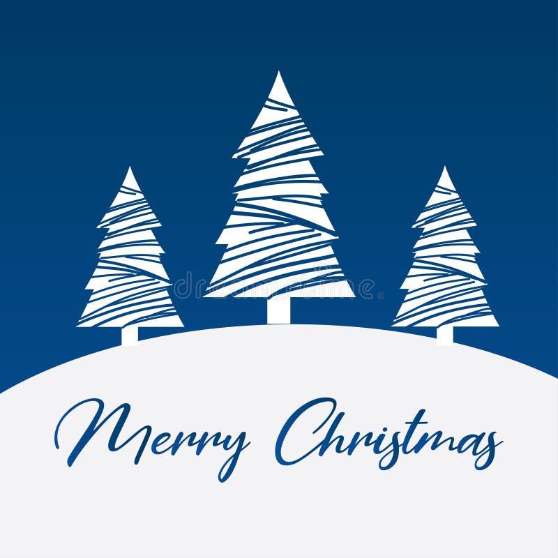 蓝色背景矢量图中的圣诞树 库存照片