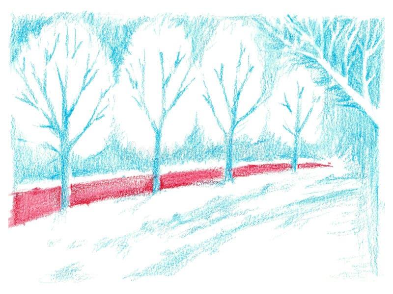 蓝色胡同和红色灌木 在纸的铅笔图 皇族释放例证