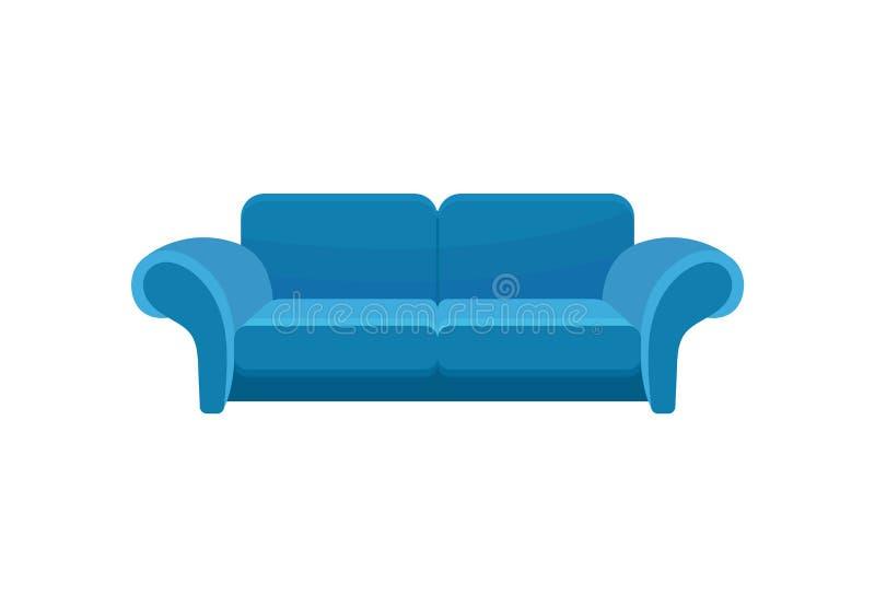 蓝色舒适的沙发,长沙发,客厅家具在白色背景的传染媒介例证 向量例证