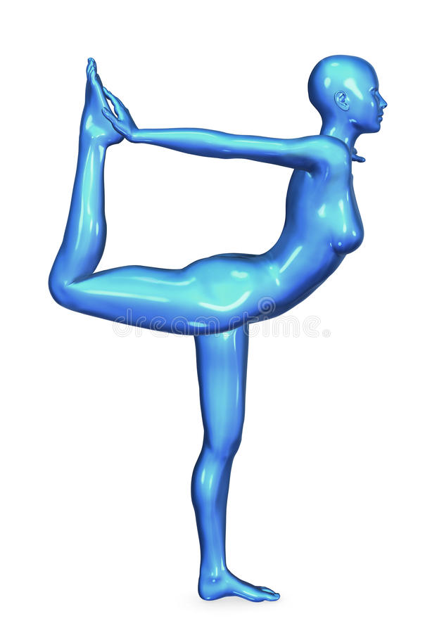 蓝色舞蹈演员光滑的姿势瑜伽 向量例证
