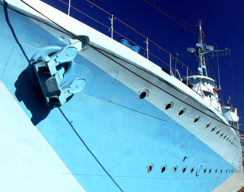 蓝色船 免版税库存图片