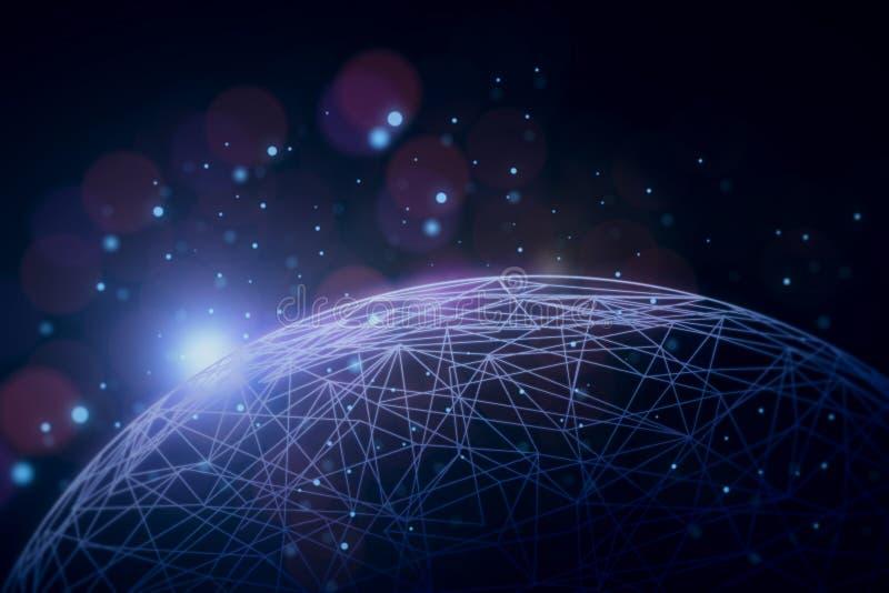 蓝色色的概念网络网络连接用管道输送天空 库存例证