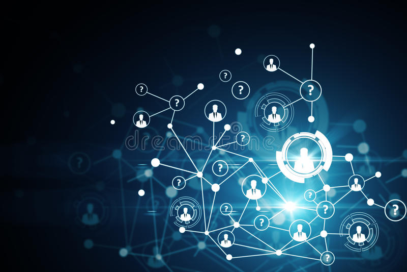 蓝色色的概念网络网络连接用管道输送天空 皇族释放例证