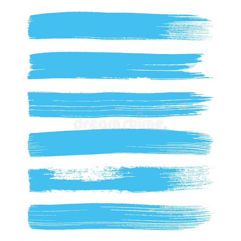 蓝色艺术刷子抚摸汇集 库存例证