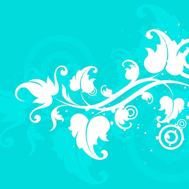 蓝色花卉主题白色 皇族释放例证
