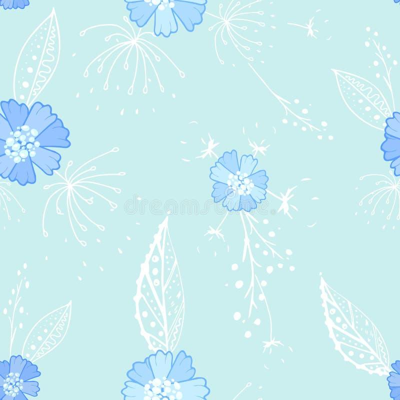 蓝色花卉乱画无缝的样式 向量例证