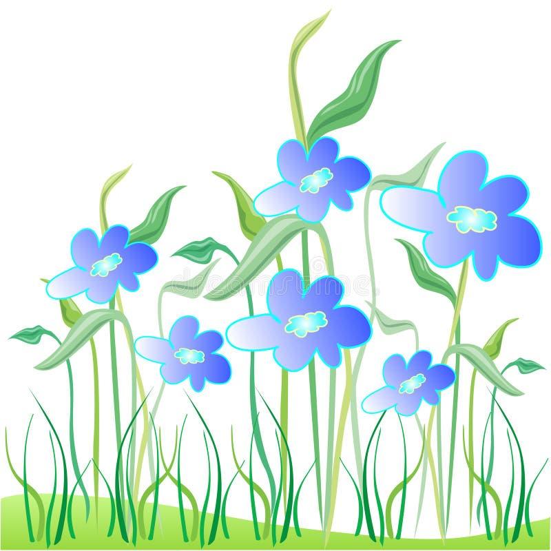 蓝色花卉庭院 向量例证