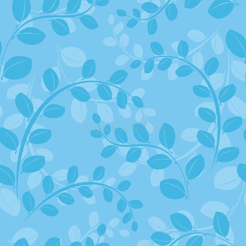 蓝色花卉模式无缝的向量 皇族释放例证